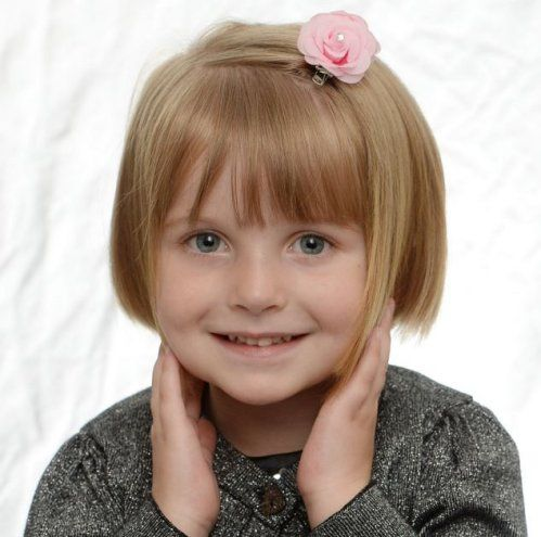 The Four-year-old shows off her new shorter bob, after having 14 inches of hair cut off to make wigs for Children battling Cancer
