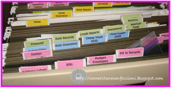 Color coded tabs for your filing cabinet. (This picture will help me remember I should get my files in order!)