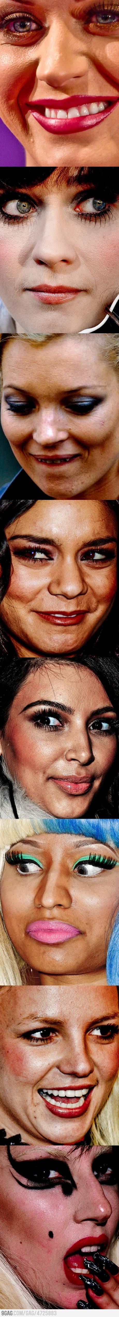 Celebs close up with no photoshop. It's hard to remember they are humans with pores, with so much photoshop done to them...