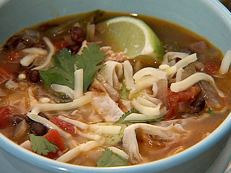 Chicken Tortilla Soup recipe from Danny Boome via Food Network >> used 2 chicken breasts; only 4 cups of broth; can of chickpeas instead of blk beans; 2 T lime juice; halfish bunch of cilantro; diced chicken and then cooked in broth mixture -- very good; baked sm corn tortillas for ~5 min at 350, brushed w/ olive oil & popcorn salt - tasty
