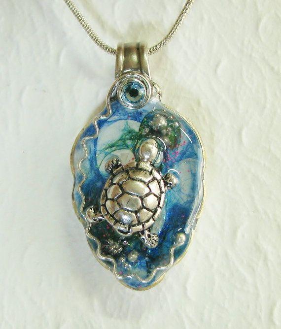 Sea Turtle Spoon Necklace, Ocean Necklace, Silverware Jewelry