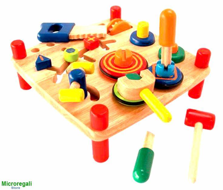 GIOCO BANCO DA LAVORO in Legno cm 33x33x17 per bambini. 3A+