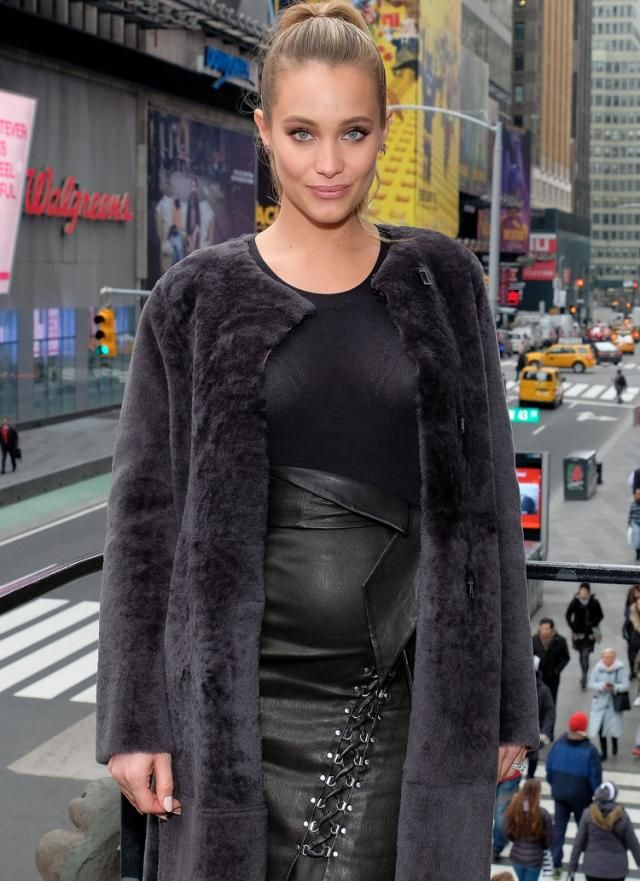 Hannah Davis Jeter Debuts Baby Bump During Press Day for Sports Illustrated Swimsuit Edition