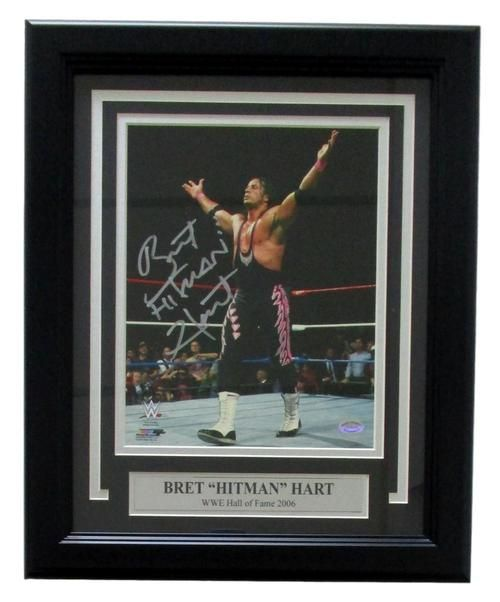 Bret Hart Signed Framed WWE 8x10 Arms Open Hitman Photo SI