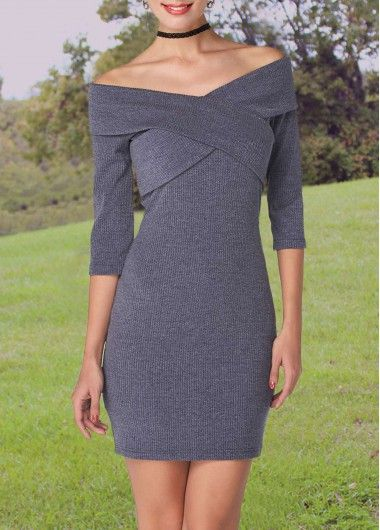 Boat Neck Three Quarter Sleeve Grey Sheath Dress on sale only US$26.69 now, buy cheap Boat Neck Three Quarter Sleeve Grey Sheath Dress at modlily.com