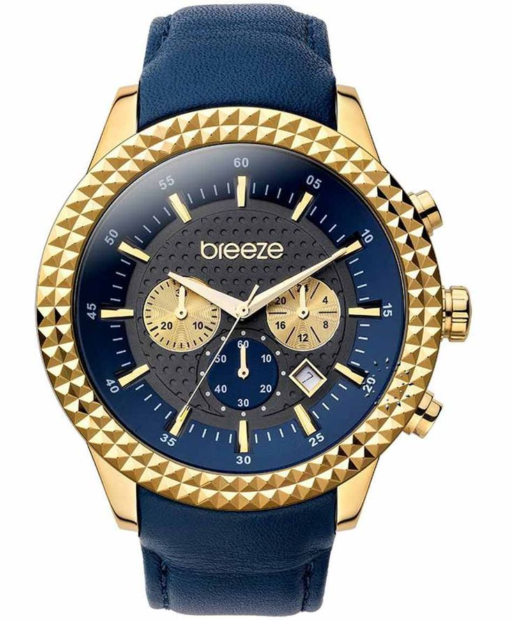 BREEZE Shinning Tribute Chrono Blue Leather Strap Τιμή: 195€ http://www.oroloi.gr/product_info.php?products_id=35251