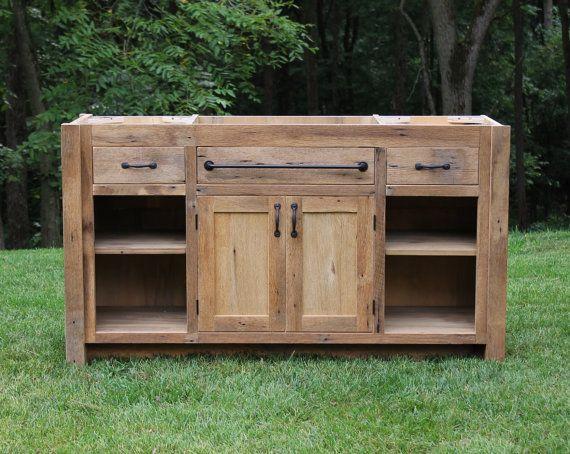 rustic vanity 60 reclaimed barn wood vanity w paneled. Black Bedroom Furniture Sets. Home Design Ideas