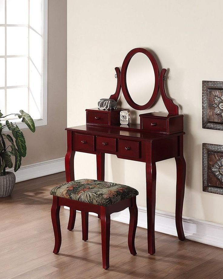 ICYMI: Makeup Vanity Set Table Swivel Mirror Stool 5 Jewelry Drawers Wooden Cherry
