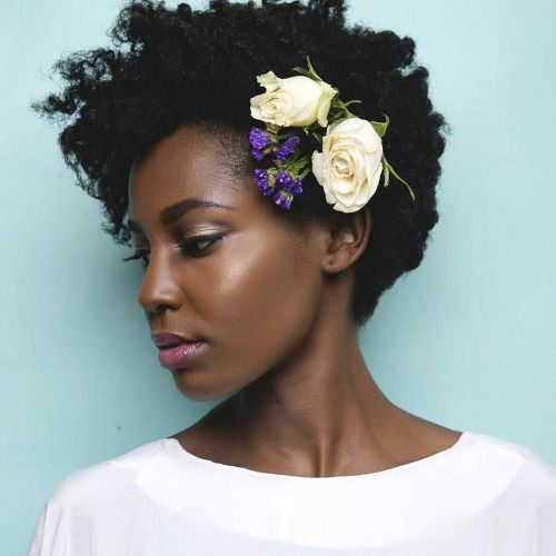 """Flowers in her 'Fro"" | Black Bride | Natural Wedding Hair | African-American…"