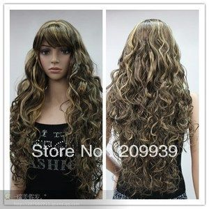 Кк 00101 Женщин Элегантный Вьющиеся длинные светлые смешанные волосы синтетического волокна парик парики