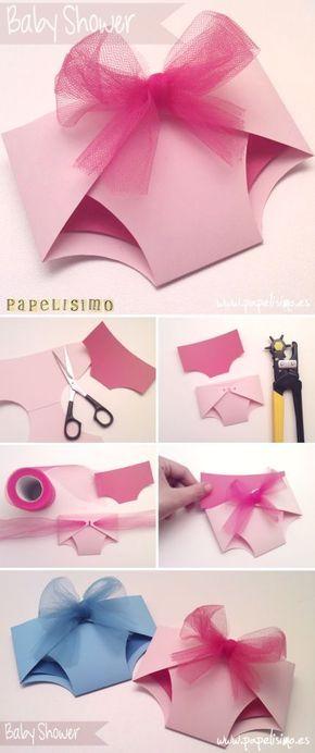 Tarjeta de pañal para baby shower | http://papelisimo.es/plantilla-molde-tarjeta-baby-shower-bautizo/