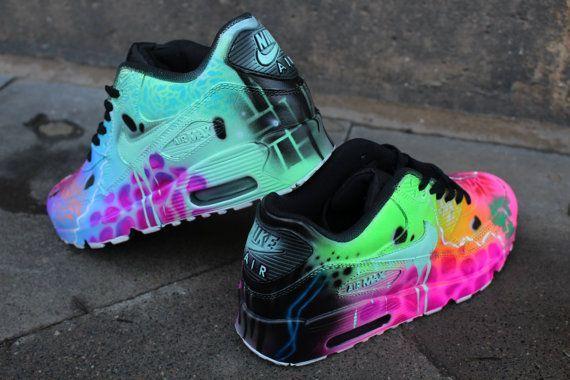 Custom Nike Air Max 90 Rainbow Airbrush Shoe Shoes Shoes