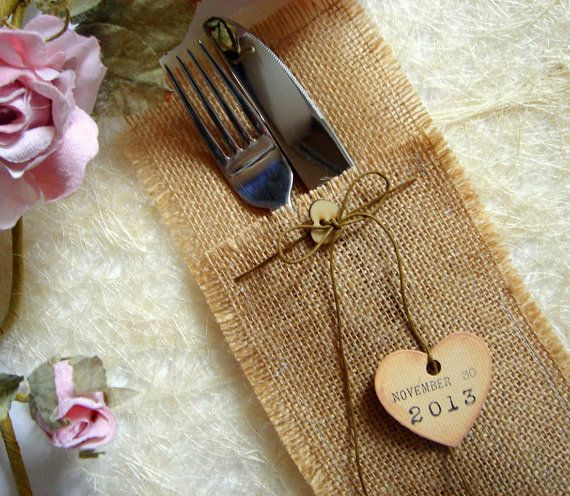 Eco friendly  Burlap Flatware Holders , Wedding Table Setting,Rustic Flatware Pockets