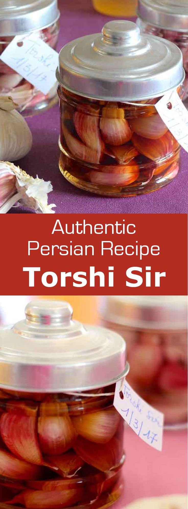 Torshi are pickled vegetables in brine that are popular in the Balkans, the Middle East as well as most Arab countries. Torshi seer is the garlic version.