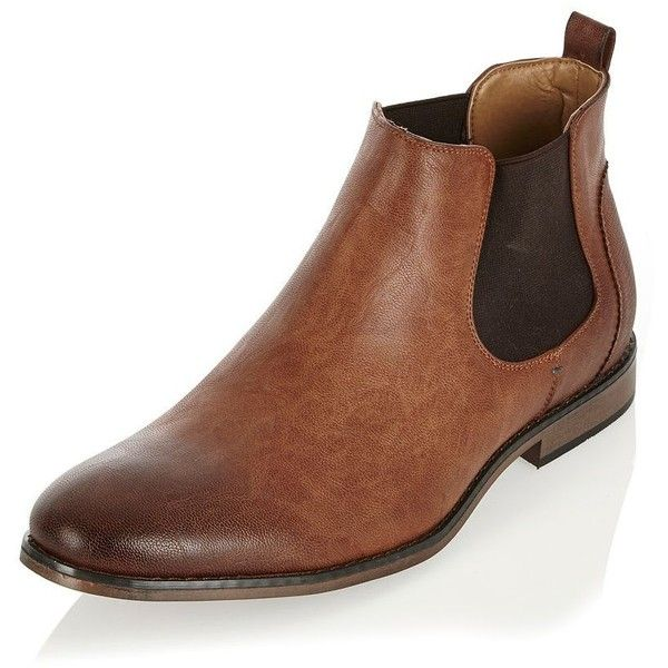 River Island Brown Chelsea boots ($56) ❤ liked on Polyvore featuring men's fashion, men's shoes, men's boots, mens round toe cowboy boots, mens brown chelsea boots, mens slipon shoes, mens slip on shoes and mens brown shoes