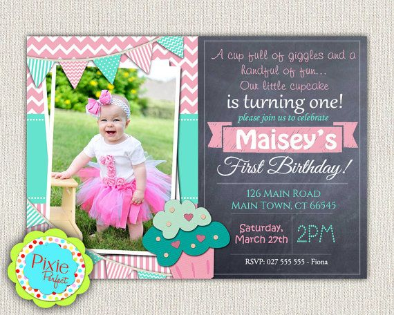 145 best girls first birthday invitation images on pinterest 1st first birthday cupcake invitation girls by invitationsbylittlep stopboris Gallery