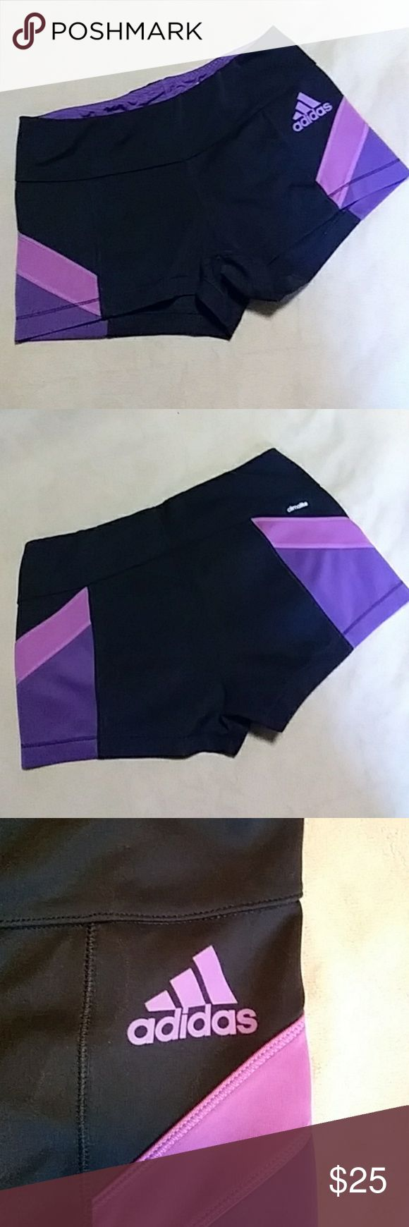 ADIDAS PURPLE AND BLACK GYM SHORTS EUC (Excellent Used Condition) Nice pair of medium sized Adidas gym shorts! Cleaned and ready to wear. Measurements: Waist 13 inches (laying flat), Length 9.5 inches. Smoke free home. Sorry no trades. Buy it now or make an offer :) Bundle and $ave. Check out my other listings. FAST SHIPPING! ⭐⭐⭐⭐⭐Rated Seller Adidas Other