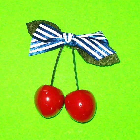 Cherry Hair Clip  https://www.etsy.com/ca/listing/293032945/twin-cherries-blue-striped-bow