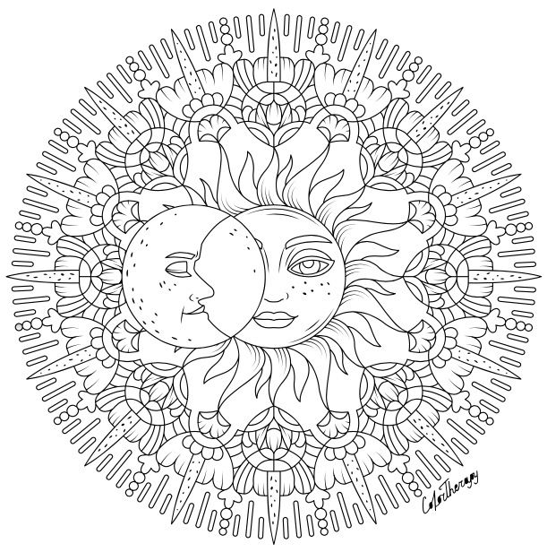 Sun Moon To Colour On Color Therapy App Try This App For Free Get Colortherapy Me Star Coloring Pages Moon Coloring Pages Skull Coloring Pages