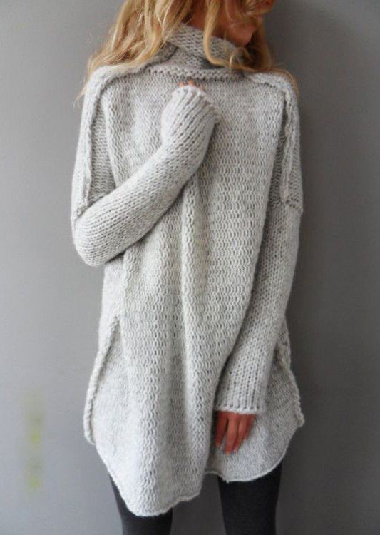 Fairy Solid Long Sleeve Casual Sweater
