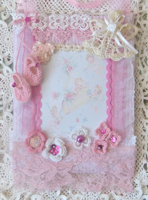 You new baby girl  mixed Media collage art by CrossStitchElizabeth