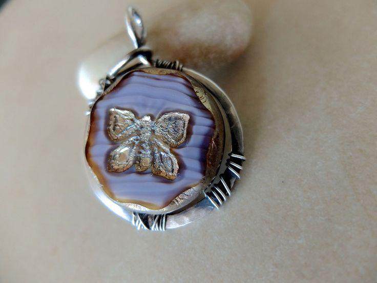 """Silber,Amulett,Gypsie,butterfly,handmade in Germany, Anhänger """"Schmetterlingsflug"""",Boho, Czech beads"""