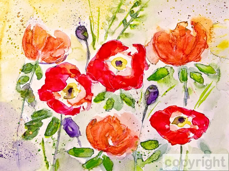 Watercolour with poppies in red and orange:  Original painting 150,- Euro