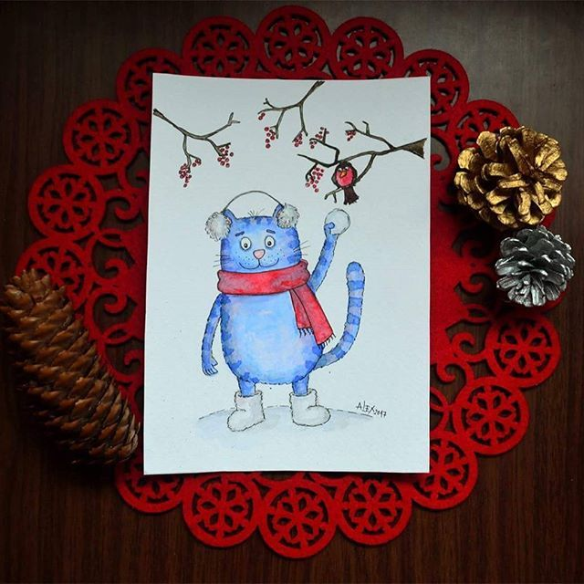 Christmas Eve here ☺ Snow storm outside, and cold and strong northern wind is breaking the silence. Love winter. Love Christmas ☺ Merry Christmas! Srecan Bozic! Hristos se rodi! 😊 #cat #blue #winter #snow #birdy #snowball #Christmastime #Bozic #happytime #watercolor #aquarelle #illustration #illustrator #topcreator #art_we_inspire