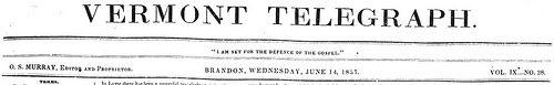 Vermont Telegraph. (Brandon, Vt) (1828-1843)