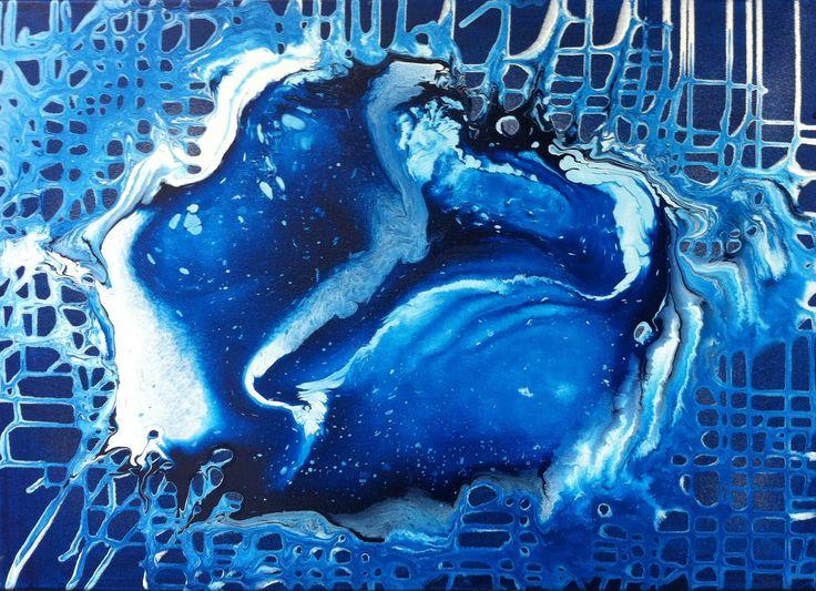 Abstract Fluid Painting, Abstrakte Malerei, Acrylmalerei mit Blau und Weiss