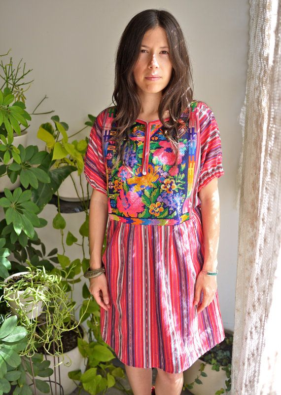 Guatemalan Floral Embroidered Dress with Pink Stripes
