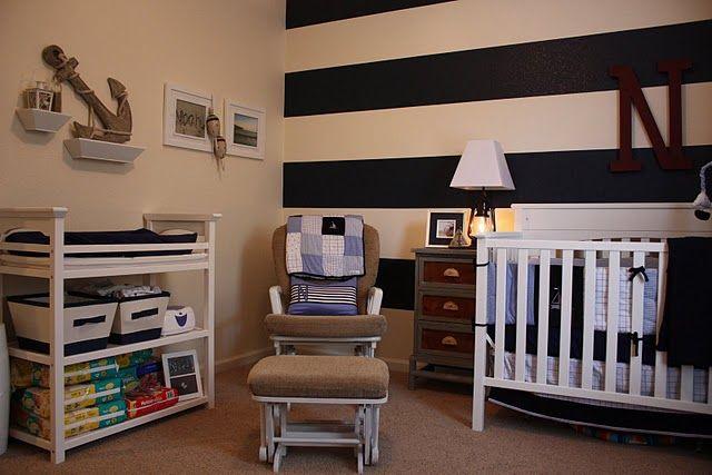 Nautical nursery- like the striped wall!