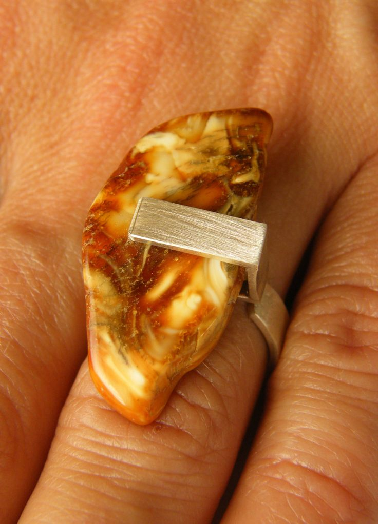 FREE Shipping Amber Ring, Silver 925, orange,  yellow, brown  baltic amberstone, Unique NEW by JewellryWithSoul on Etsy