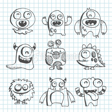 stock-illustration-19132831-monster-line-art-drawing.jpg (380×379)