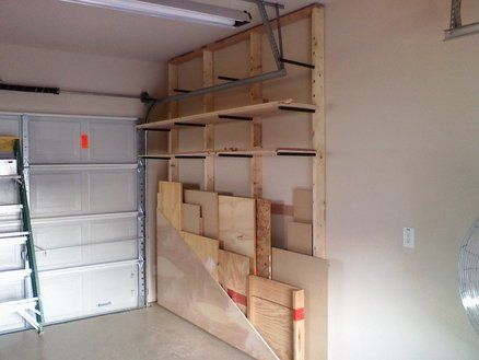 Lumber Rack near garage door.