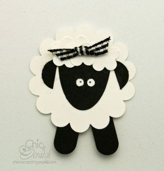 Cute sheep card from scalope punch