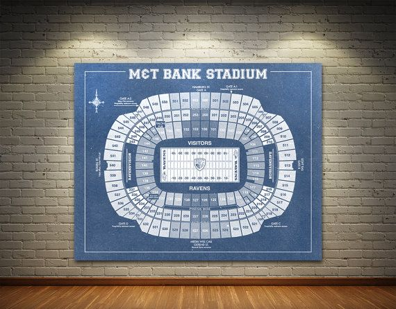 Vintage Print of M&T Bank Stadium Seating Chart Blueprint Photo Matte Paper CANVAS NFL Baltimore Ravens Hanging Map Sports Wall Art Decor