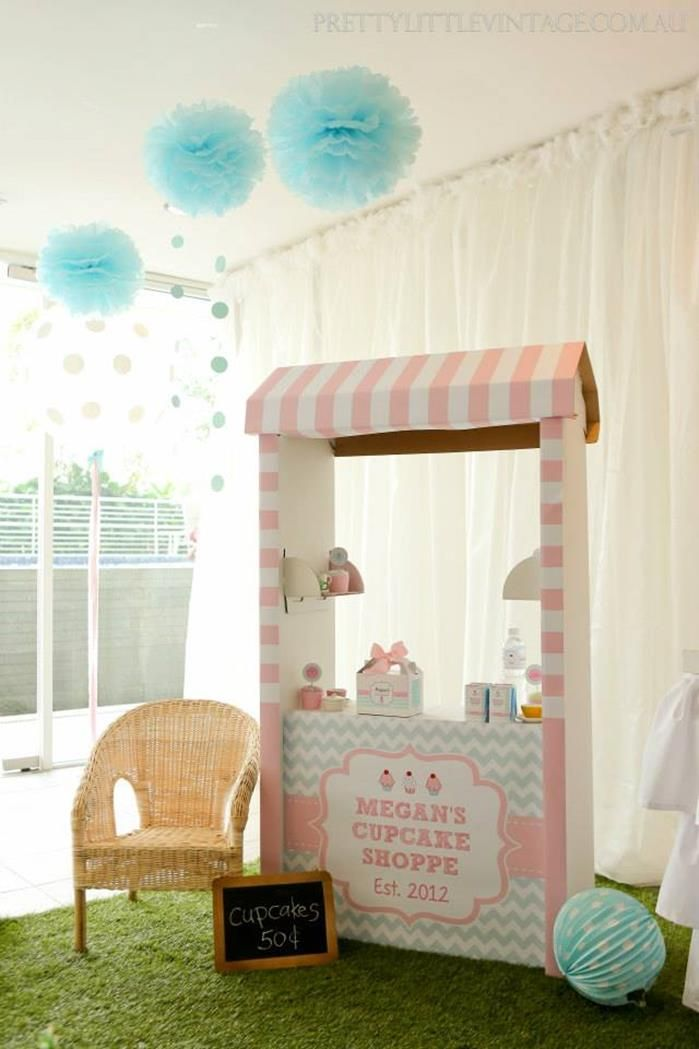 Cupcake Shoppe 1st birthday styled by www.prettylittlevintage.com.au  Customised Cupcake Stand Printable for a IKEA (SKYLTA) cardboard kids market stand