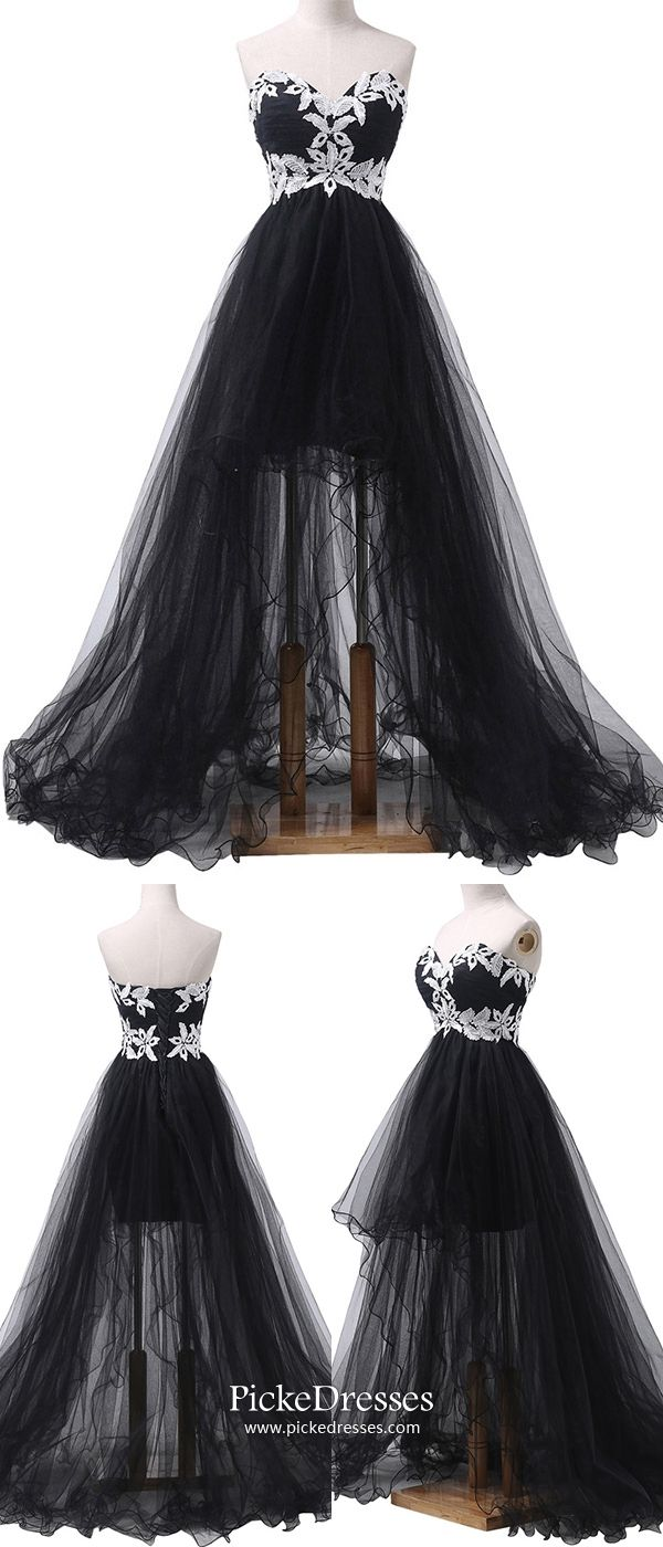 Black prom dresses high low elegant formal dresses for teenagers