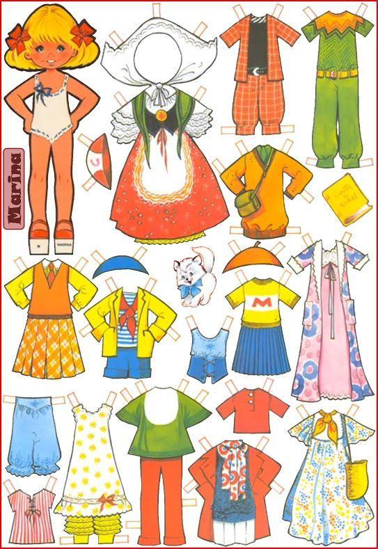 Láminas de cromos troquelados- Muñecas recortables, Marina