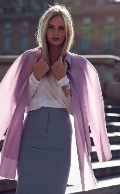 see through rain coat in lilac plus pencil skirt with exposed front zipper