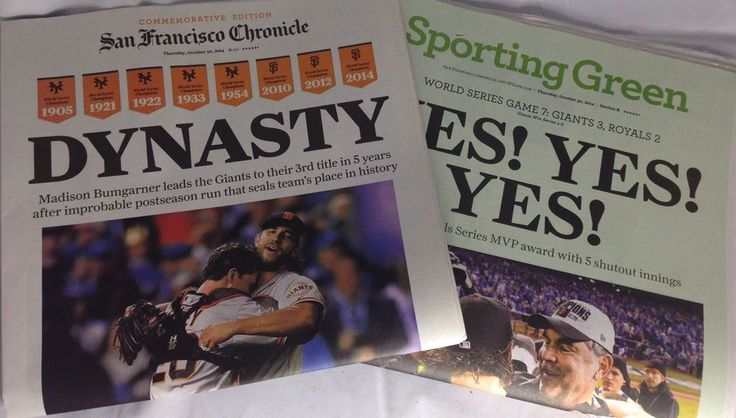 San Francisco Chronicle Newspaper 2014 World Series Champions SF Giants #sfgiants