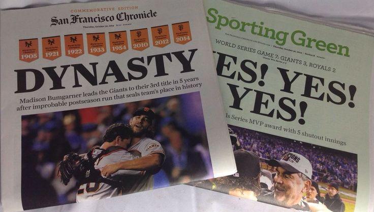 San Francisco Chronicle Newspaper 2014 World Series Champions SF Giants #sfgiants