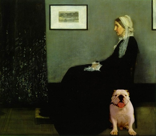 "Did you know ""Whistler's Mother"" had a #bulldog. I think I have too much time on my hand cause I photoshop Diesel into another famous painting. I'm sure the artist is turning in his grave!"