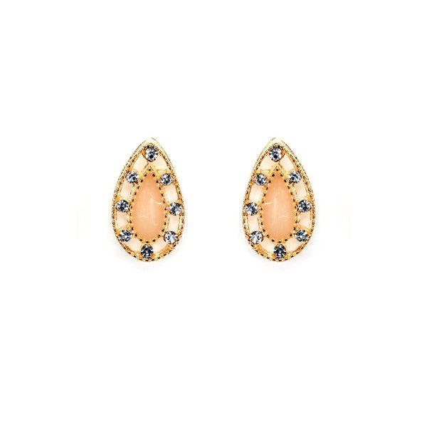Teardrop and Beige Stone Stud Earrings