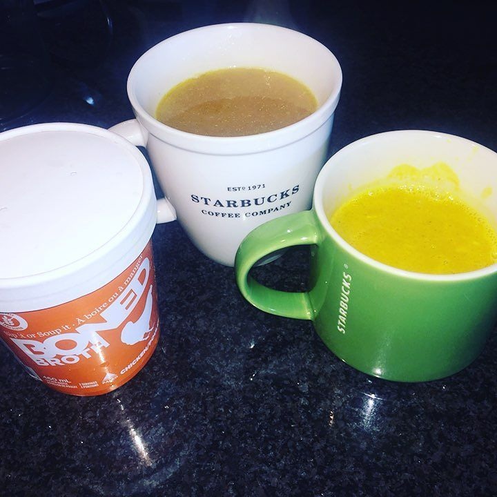 Feeling under the weather?  📷 @megandyanhelmer Woke up with a nasty #cough and #feelingpoorly Swapped the usual #breakfast for #bonebroth from @bonedbroth and some #homemade #goldenmilk with extra #tumeric Ive got 24 hours to kick this. Oh and apparently I have a #starbucks #mug problem. #healthylifestyleattempt422 #healthymegan #vancouver #yvr