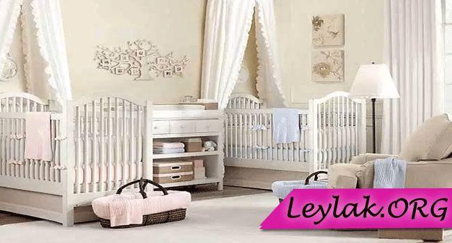 İkiz bebek odası dekorasyonu modelleri