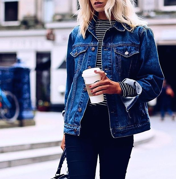 Love this denim jacket over the stripped top! Shop similar styles on Effinshop.com xx