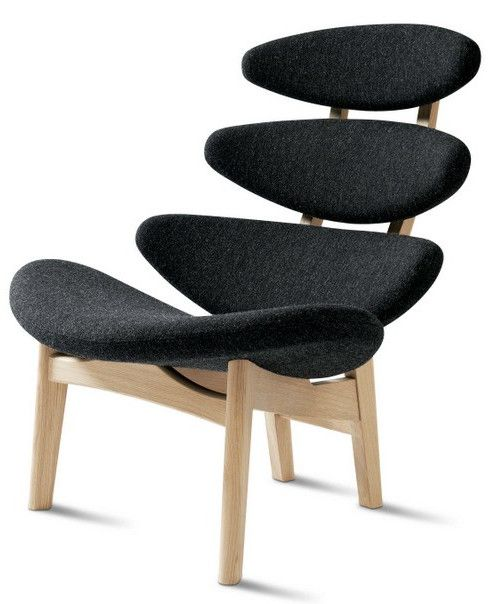 Upholstered armchair with headrest CORONA CLASSIC by Erik Jørgensen | #design Poul Volther