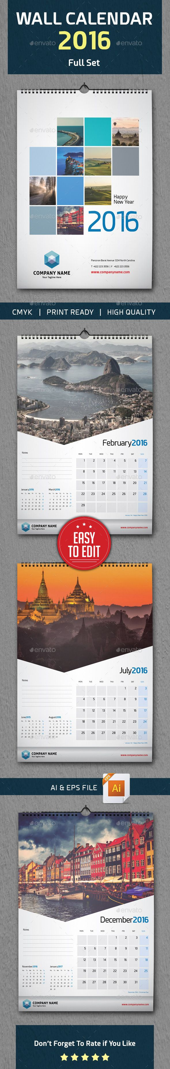 Wall Calendar 2016 Vector Template EPS, AI #design Download: http://graphicriver.net/item/wall-calendar-2016/13577618?ref=ksioks